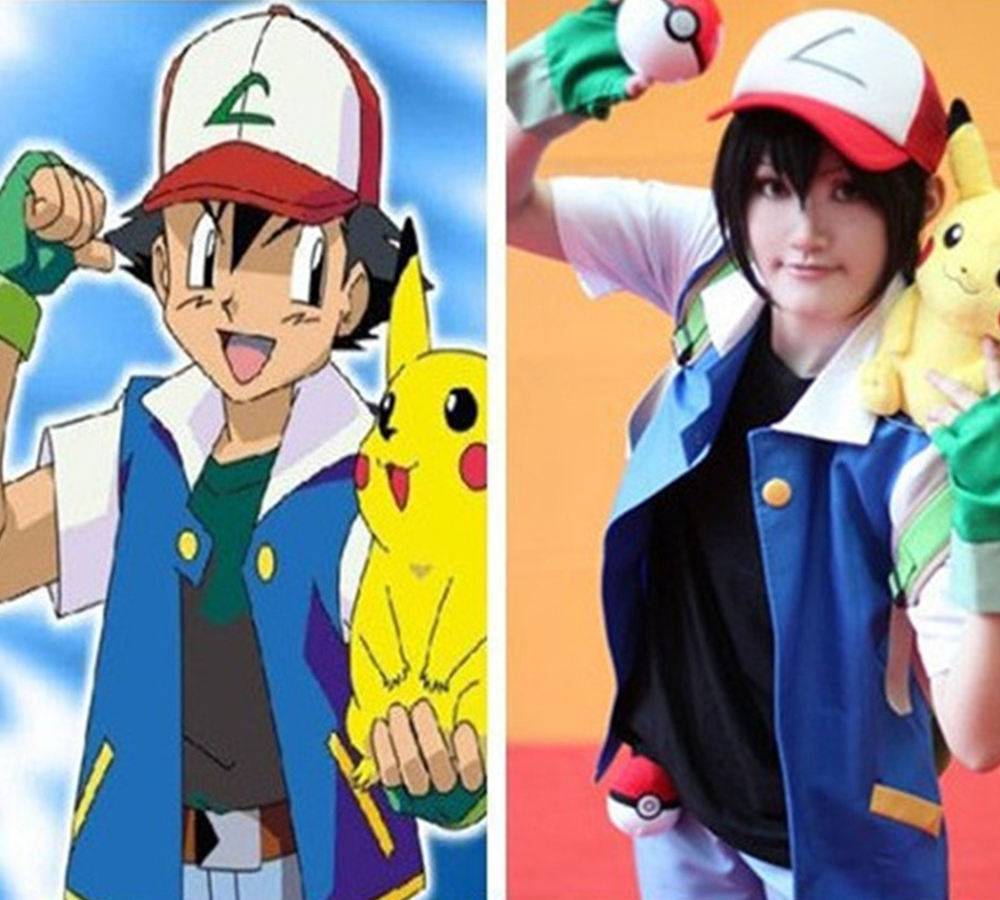 5f33207c High Quality Pokemon Ash Ketchum Cosplay Costume Trainer Costume Blue  Jacket+Gloves+Hat Ash Ketchum Costumes For Men And Women