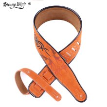 Leather Electric Durable Guitar Strap Bass Straps Chinese Embroidery Patten Guitar Parts Accessories High Quality Orange handmade leather guitar bass straps can be customized guitar accessories