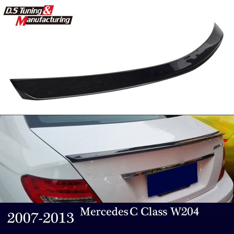 For <font><b>Mercedes</b></font> W204 Carbon Fiber <font><b>Rear</b></font> Trunk Tail Wing <font><b>Spoiler</b></font> For <font><b>Benz</b></font> C Class W204 2007 - 2013 C180 C200 <font><b>C300</b></font> C350 4-door sedan image