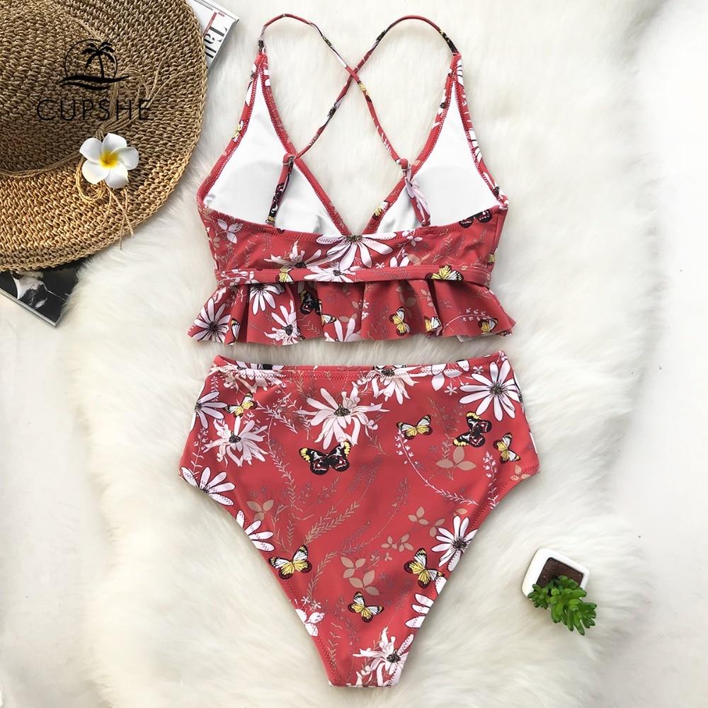 CUPSHE Rose Ruffled Hem Bikini Set Women Flora V-neck High-waisted Two Piece Swimsuit 2019 Girl Beach Bathing Suit Swimwear