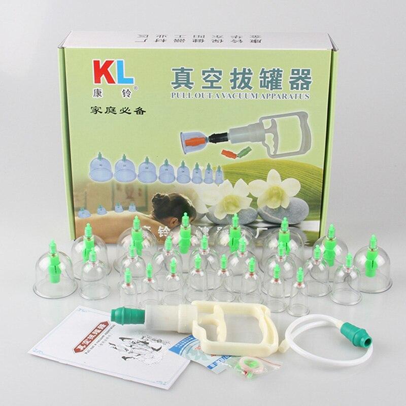 KL soins de santé traditionnel chinois médical 24 tasses ensemble de ventouses sous vide Kit d'aspiration corps Massage de santé avec Tube