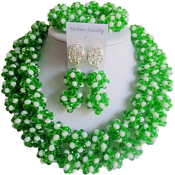 Trendy Green Opaque White African Style Women and Girls Anniversary Crystal Jewelry Sets 2C-SJHQ-08