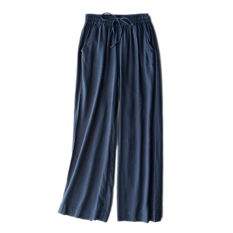 2019 New Summer Women Cotton Linen Straight Pants Casual Loose Solid Color Plus Size 3XL Elastic Waist Trousers in Pants amp Capris from Women 39 s Clothing