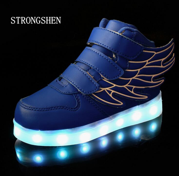 STRONGSHEN 2017 Fashion New USB Charging Led Children Shoes With Light Up Kids Boys&Girls Luminous Sneakers Glowing Shoe