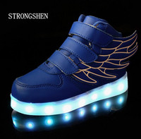 2016 Fashion New USB Charging Led Children Shoes With Light Up Kids Casual Boys Girls Luminous