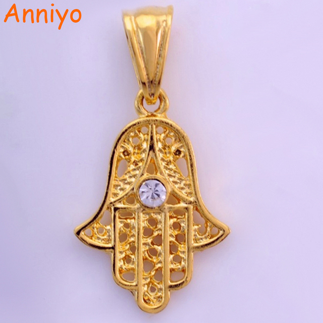 Anniyo wholesale hamsa hand pendant gold color jewelry for female anniyo wholesale hamsa hand pendant gold color jewelry for femalenazar hand of fatima mozeypictures Image collections