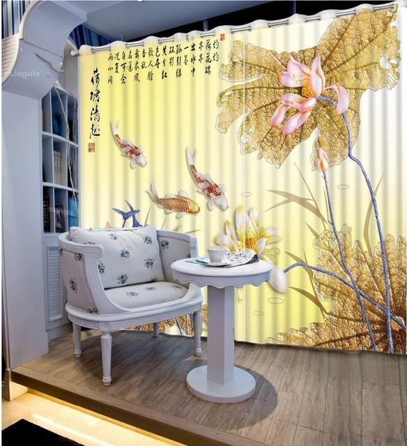 3D Vorhänge Hauptdekoration Luxus Fenster Vorhang Für Das Wohnzimmer Moderne  Kurze Fisch Lotus 3D Malerei Foto