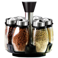 Spice jar rotating stainless steel glass cruet kitchenware set seasoning pot salt pepper seasoning bottle seasoning tool