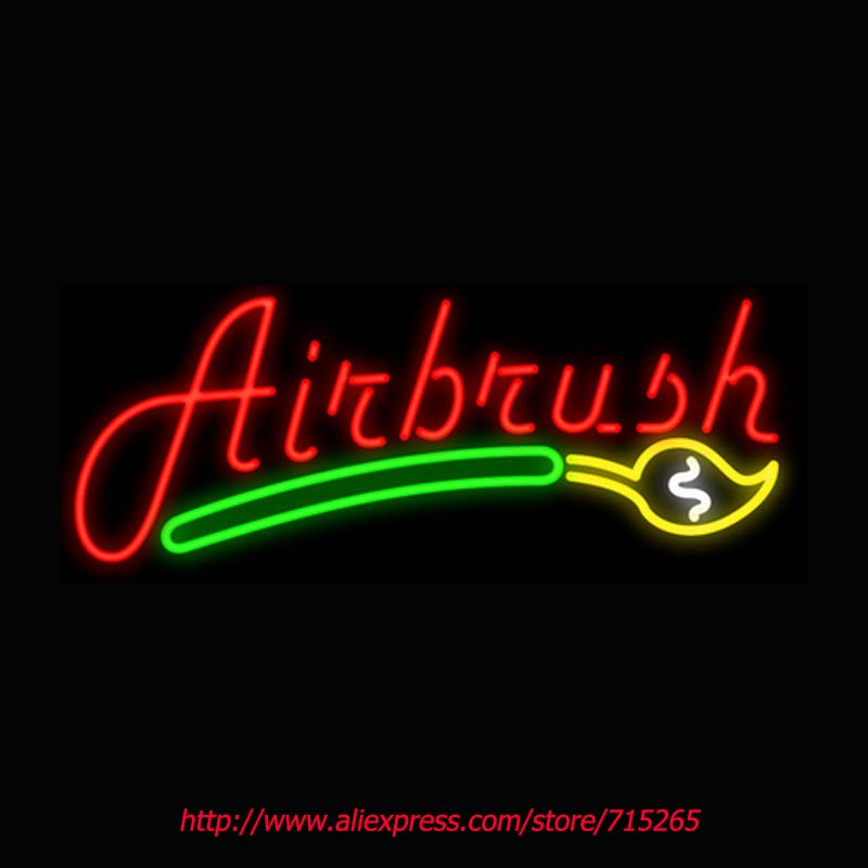 Air Brush Neon Signs Board Neon Bulbs Light Real GlassTube Art Handcrafted Beer Bar Pub Led Signs Business Store Display 30x12