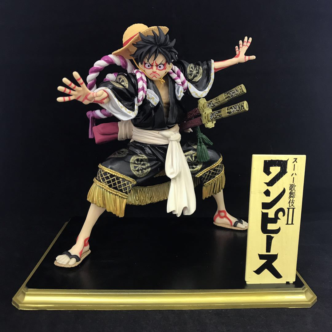 Anime One Piece Monkey D Luffy Kimono Kabuki Ver. PVC Figure Collectible Model Toy japan anime one piece the straw hat piratespop2 0 monkey d luffy pvc action figure collectible model toy 24cm