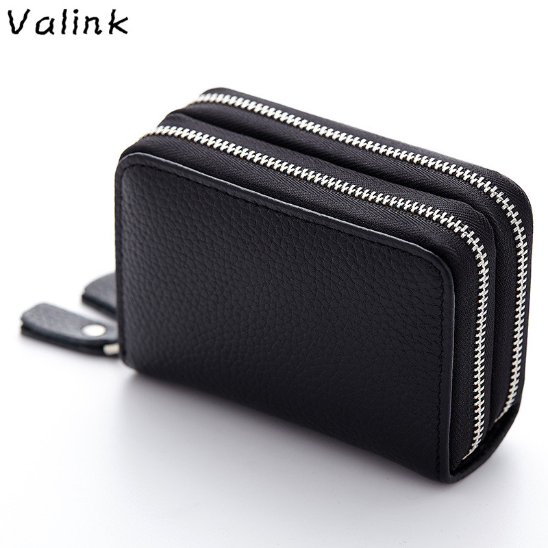 100% High Quality Real Leather Wallet Women Luxury Brand Double Zipper Multi-card Purse Fashion Women's Leather Wallets Carteira