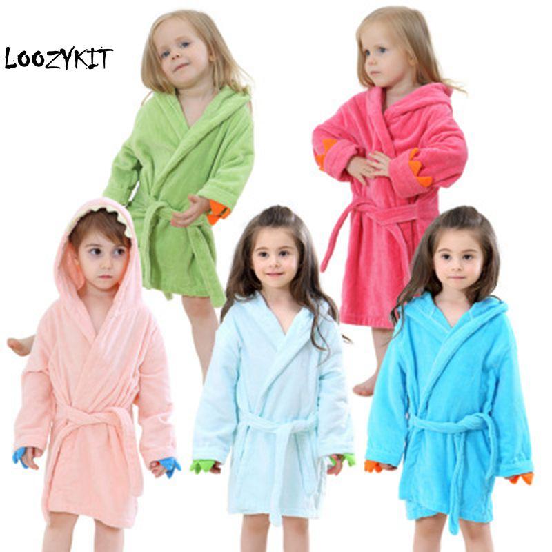 Loozykit Cute Baby Bathrobes Girls Pajamas Kids Dinosaur Hooded Beach Towel  Boys Bath Robe Pajamas Baby Sleepwear Kids Clothing deca33b05
