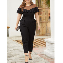 Plus XL-4XL Womens Off Shoulder Summer Casual  Ruffle with Pockets Jumpsuits Siamese Trousers