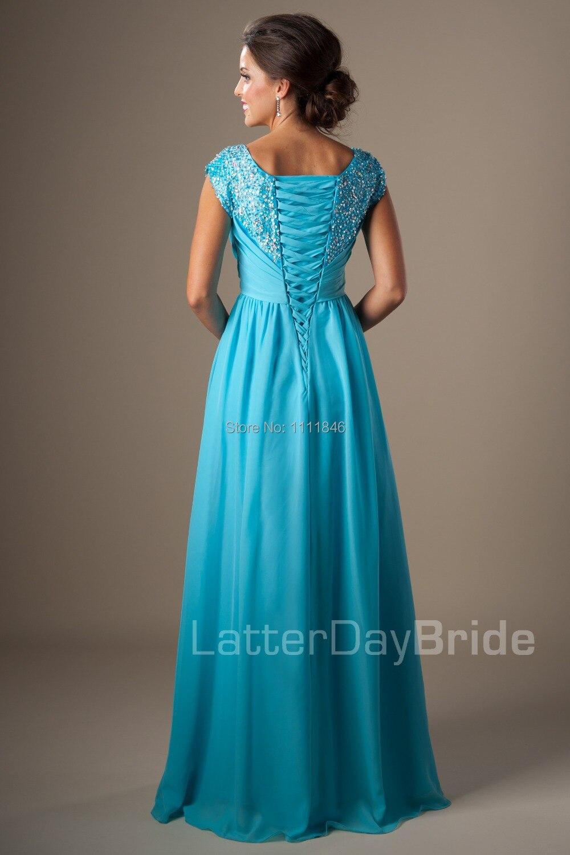 2015 Frozen Deeply Jeweled Bodice Flowing Chiffon Blue Long Prom ...