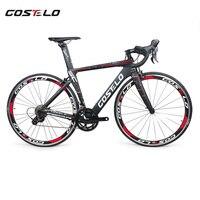 2018ใหม่Costelo Speedcoupeคาร์บอนไฟเบอร์ถนนจักรยานจักรยานที่สมบูรณ์40มิลลิเมตรล้อ3500กลุ่มที่มีก้านมือจั...