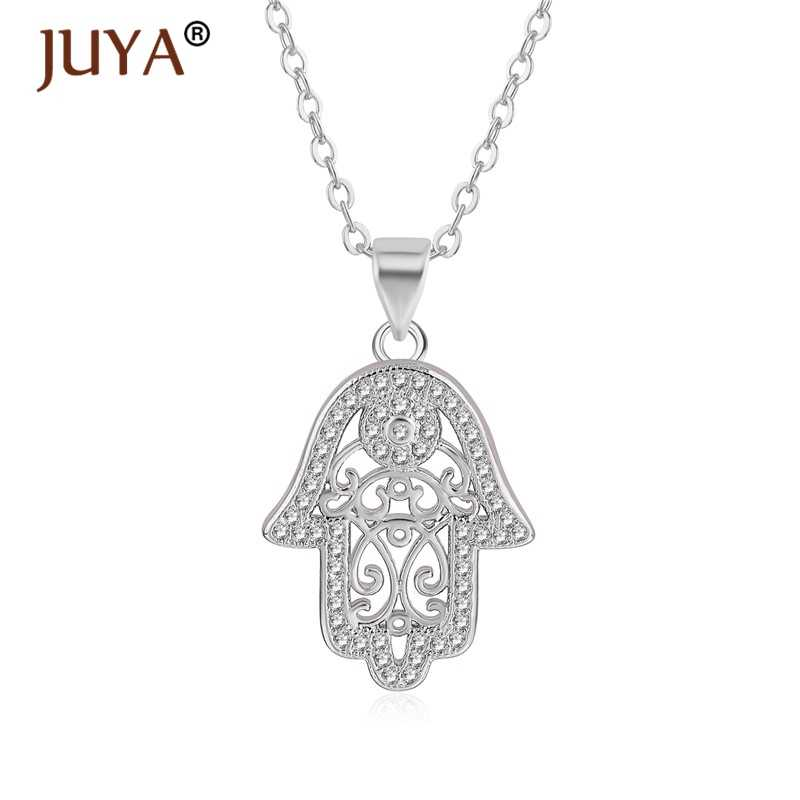 Gold Silver Rose Gold Hollow Patten hamsa hand pendants necklaces For Women jewelry Lucky collier main de fatima bijoux