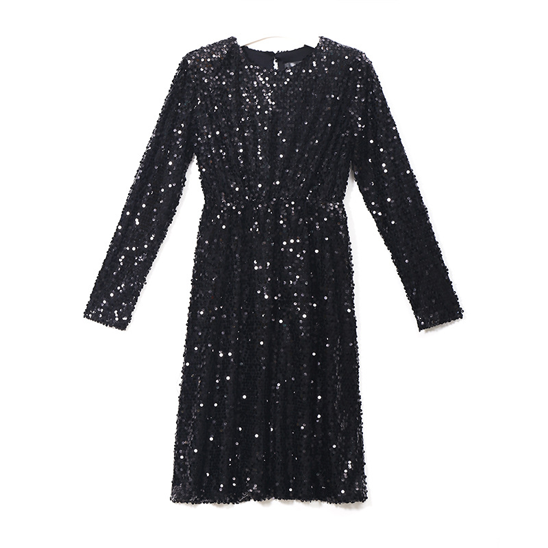 Amazon 2018 new spring fashion bead sequin medium-length loose long-sleeved sleeve dress 3266 for 155-175cm/45-60KG Onesize YYFS