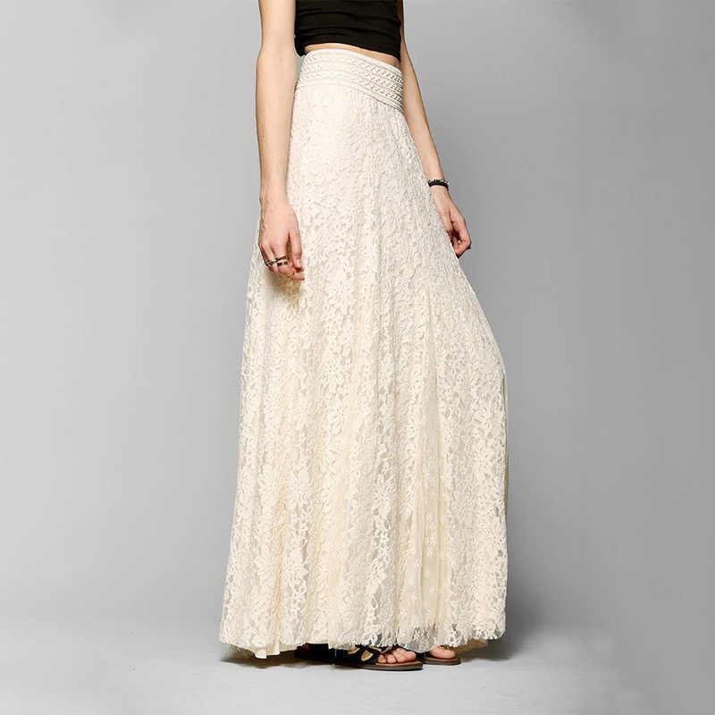 49687352a Falda larga de encaje de algodón blanco de verano para la playa de la boda  de la falda Retro de la boda Falda plisada de tul de la Escuela de las ...