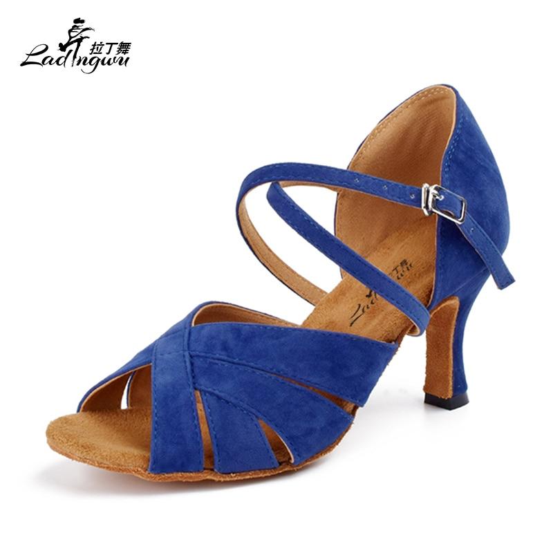 Ladingwu Free Shipping Square Head Plush Pad Soft Bottom Dance Shoes Blue Flannel Women's Salsa Latin  Ballroom Dance Shoes