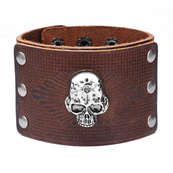 Bracelet en cuir véritable Viking crâne 4