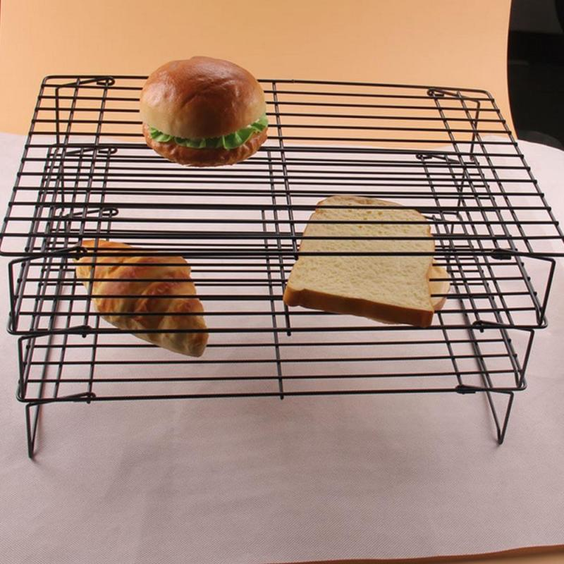 1pc Baking Grid Cooling Rack Shelf Stainless steel 3 Layer Stackable Cake Cookies Plate Shelf Bakeware