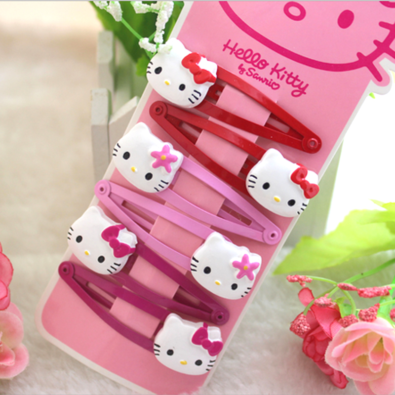 F02 free shipping 2016 new hair suit kt cat cute cartoon clip children hairpin priced direct 6pcs/set Christmas Gift