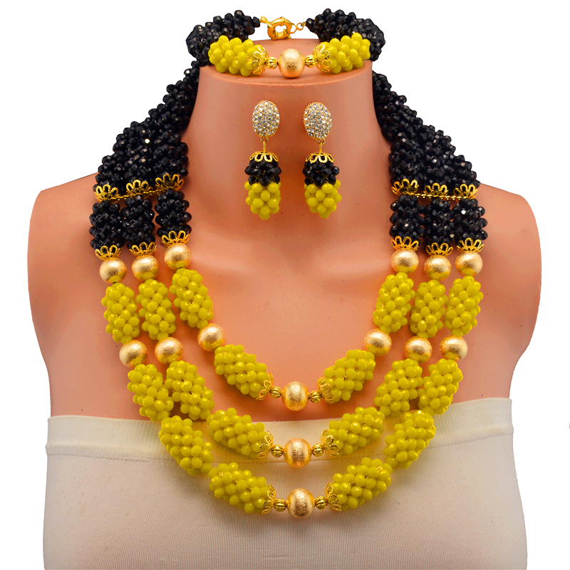 Free Shipping Fashion Black Yellow Costume Necklace Bracelet Earrings Jewelry Set Nigerian Wedding African Beads Bridal Jewelry