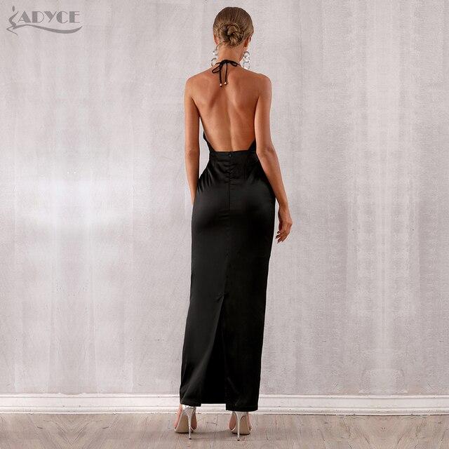 Adyce 2019 New Summer Maxi Celebrity Evening Party Dress Women Vestidos Halter Sexy V Neck Backless Sleeveless White Club Dress 5