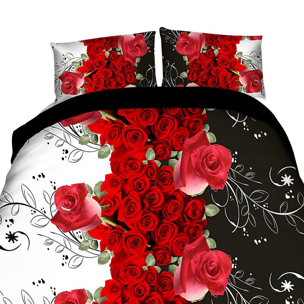 Urijk 3/4PCS Floral Bedding Set 3D Flowers Printed Polyester Duvet Cover Bedsheet with Pillow Sham Comforter Bedding Sets