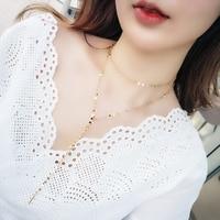 3 cores de Alta Qualidade Estilo Coreano Camisola Cadeia de Moda Simples Franja Multicamadas Longo Mulheres Jóias meninas Colar os amantes de presente