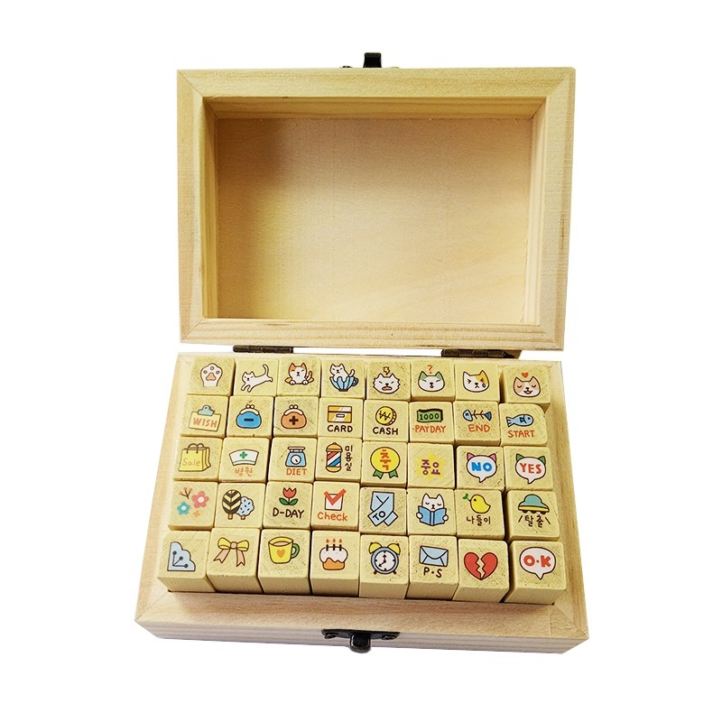 40 Pcs/set Cute DIY Cartoon Cats Wood Stamps For Kids Decor Diary Handmade Cards Gifts Clear Rubber Stamps For Scrapbooking cartoon wood