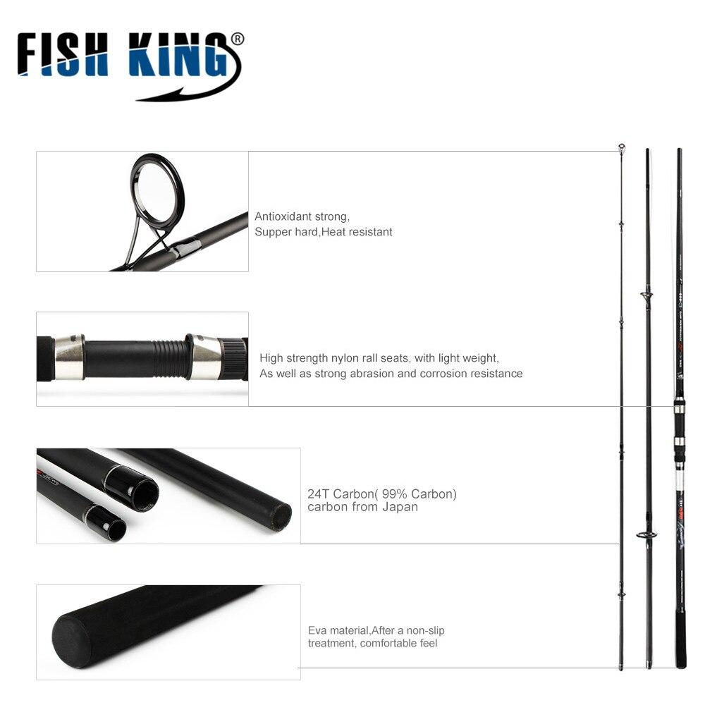 Poisson roi 24 T carbone carpe canne à pêche C.W 3.5LBS 3 SECS Contraction longueur 128 cm 138 cm pour la pêche de la carpe