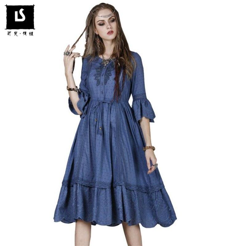 finest selection c19d2 58bf2 Donne di marca Del Vestito Abito Vintage Ricamato foglia di ...