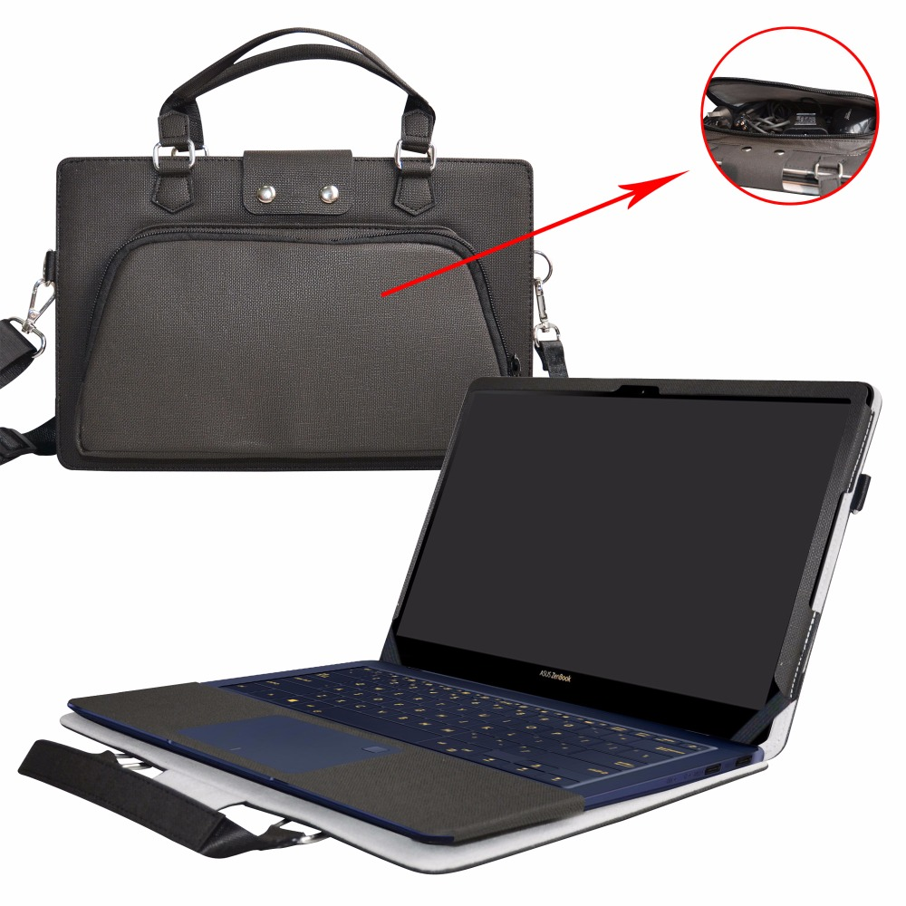 Accurately Designed Protective PU Leather Cover + Portable Carrying Bag For 14 ASUS ZenBook 3 Deluxe UX490UA Series Laptop roocase netbook carrying bag for acer cromia ac761 11 6 inch hd chromebook wi fi 3g deluxe series