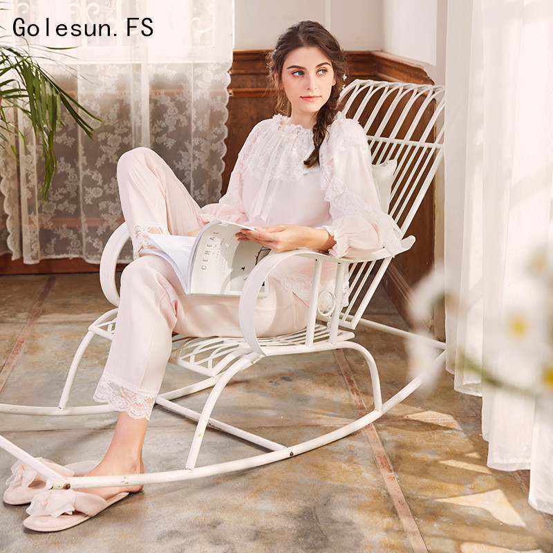 New Arrival 2018 Spring and Autumn Women Princess Pure Cotton   Pajamas     set   Lady Sleepwear Nightwear Vestidos Pijama QGT052