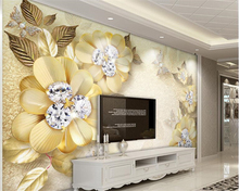 beibehang European-style beautiful creative papel de parede 3d wallpaper luxury gold diamond flower silk jewelry background wall