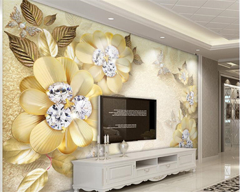 beibehang European-style beautiful creative papel de parede 3d wallpaper luxury gold diamond flower silk jewelry background wall