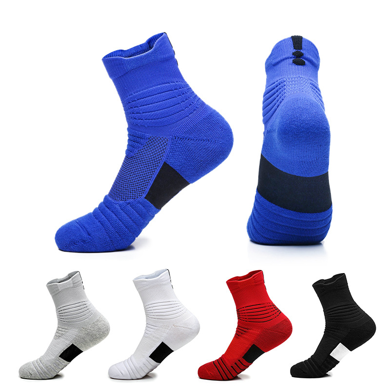 Men's Sports Socks Professional Basketball Non-slip Socks Terry Outdoor Breathable Cotton Cushioned Active Trainer Socks For Men