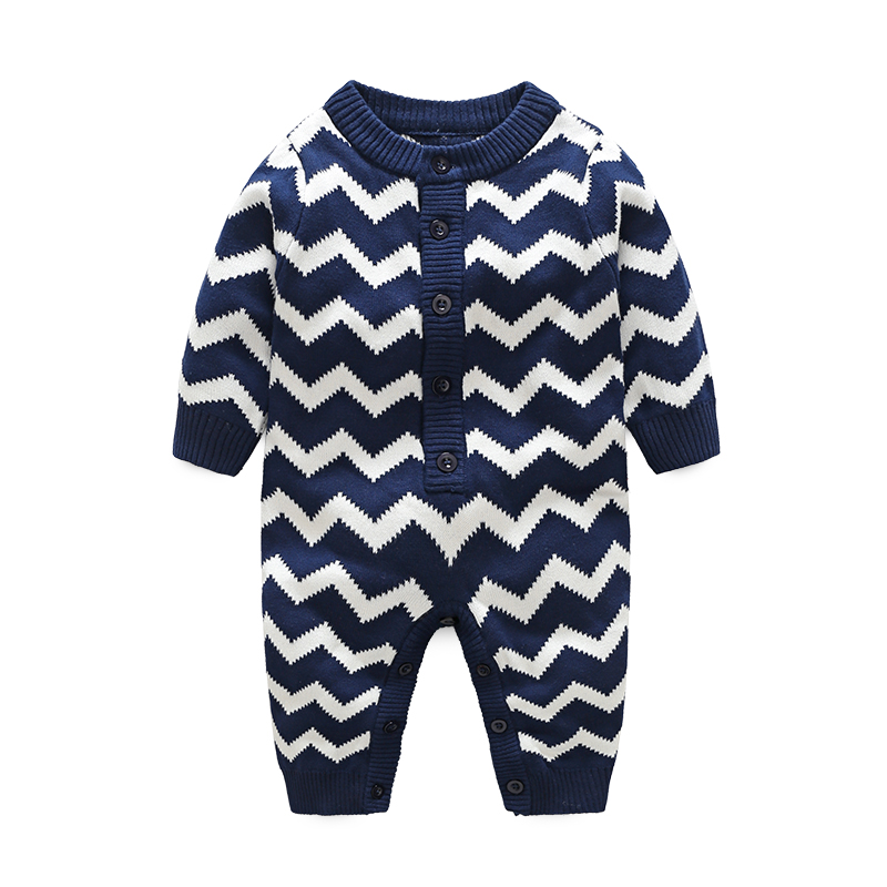 I.K winter baby clothes infant rompers knitted cotton jumpsuit newborn soft pajamas wave stripe long-sleeves Christmas cloth