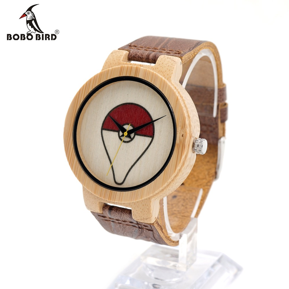 BOBO BIRD E11 Mens Peking Opera Top Design Brand Luxury Wooden Bamboo Watches With Real Leather