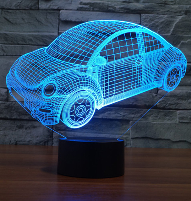 3D Illusion LED Night Light 7 Light Colors Car Shape Table Lamp For Party  Gift Children