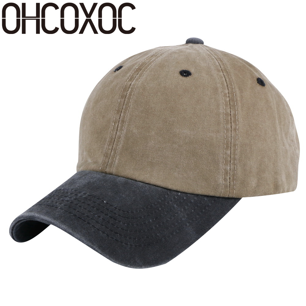 OHCOXOC wholesale unisex casual hats caps patchwork color washable cotton denim style outdoor sports women men baseball cap прихожая сокол вш 7 венге беленый дуб