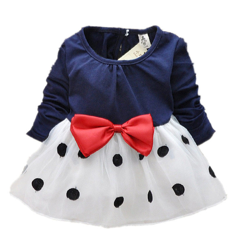 2016 New Cute Baby Girls Dress Cotton and Lace Mini Ball Grown Dresses Kids Clothes Baby Bowknot Polk dot dress princess costume