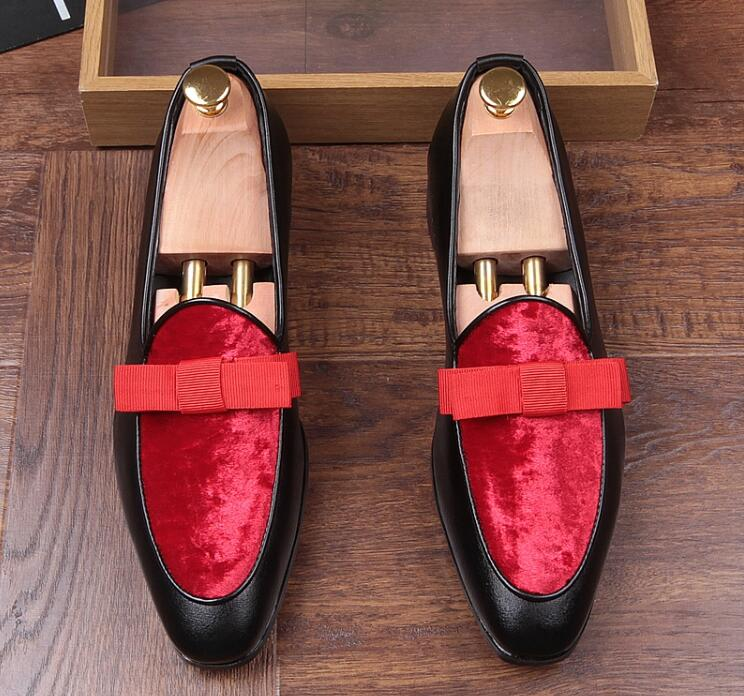 Slip-On New Men's Flats Shoes Suede Smart Casual Spring Moccasin Gommino bowknot Loafers Pointed Toes Patchwork Dress Loafers