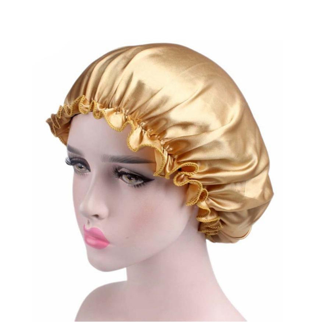 MUQGEW Unisex Saten Kap Bonnet Saç Bakımı Kapaklar Saten Femme Bayan Kap Şapka Banyo