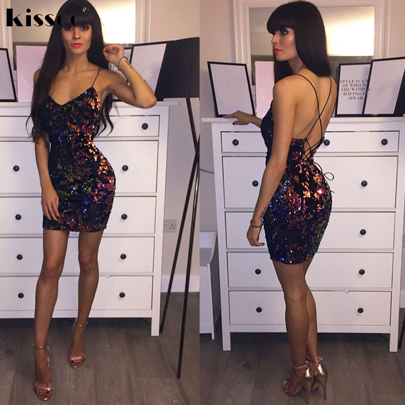 8fc2263b32 Multicolor Sequins Backless Low Cut Sexy Mini Dress Sleeveless Cross Straps  Party Dress Colorful Sequined Velet Night Club Dress