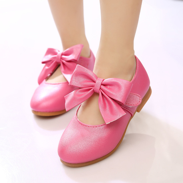 441842006ded 2016 Autumn New Girls Princess Leather Shoes Bow knot High Quality Girls  Dance Shoes Kids Flats Sandals Girls Gold Shoes Baby