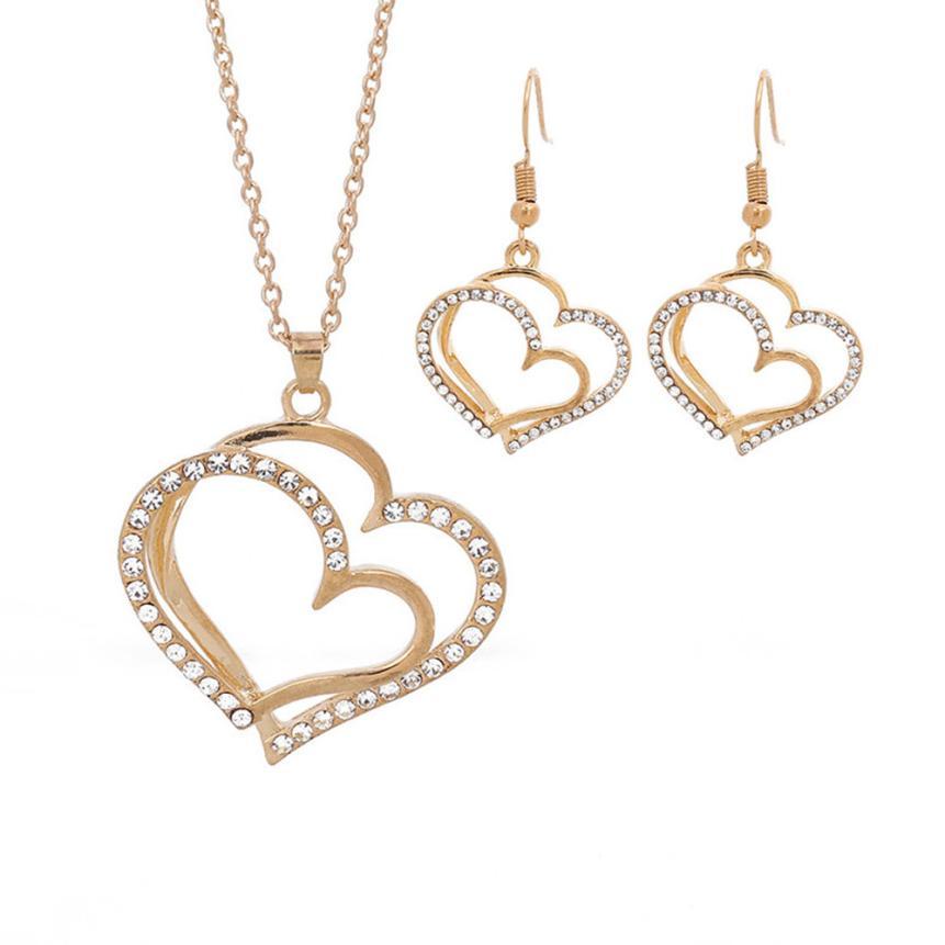 OTOKY Jewelry Set Wedding Banquet Wedding Accessories Double Love Heart-shaped Earrings Necklace jewelry set Dec15