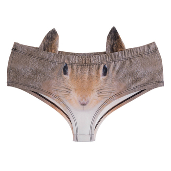 Brown Squirrel 3D Cute Print Ears Women Underwear Interesting Panties For Lady Hot Sexy Female Lingerie Thongs Briefs deanfire 3d panties women underwear lovely sniff sniff funny print kawaii push up briefs lingerie thong for female