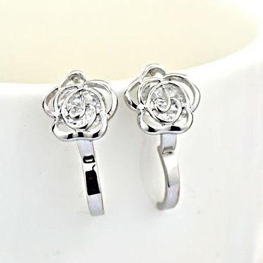Accessories zircon rose flower elegant ear buckle earring quality small gentlewomen elegant earrings accessories 174